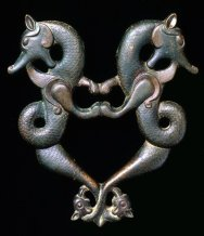 A cast bronze door handle from southeastern Turkey, beginning of the 13th century.