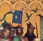 """In this 15th c. """"Adoration of the Magi"""" by Stefan Lochner, the Byzantine attendee stands with a blue flag with star and crescent."""